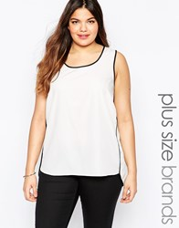 Junarose Plus Sissa Top With Contrast Piping White