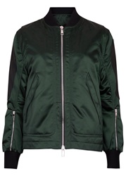 Tim Coppens Dark Green Leather Trimmed Shell Bomber Jacket