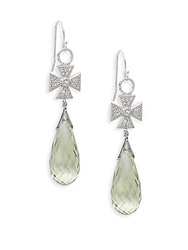 Jude Frances Laguna Green Amethyst White Sapphire And Sterling Silver Cross Earrings Silver Green