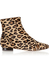 Charlotte Olympia Puss In Boots Leopard Print Calf Hair Ankle Boots