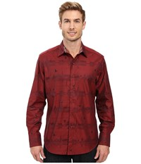 Robert Graham Floating City Long Sleeve Woven Shirt Brick Men's Long Sleeve Button Up Red