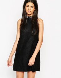Rock And Religion High Neck Swing Dress With Gem Detail Black