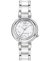 Citizen Women's Eco Drive Stainless Steel And White Ceramic Bracelet Watch 30Mm Em0320 83A