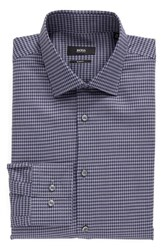 Boss Men's Big And Tall Slim Fit Houndstooth Dress Shirt Navy