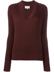Maison Martin Margiela Maison Margiela Ribbed V Neck Sweater Red