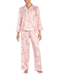 Miss Elaine Two Piece Floral Pajama Set Pink