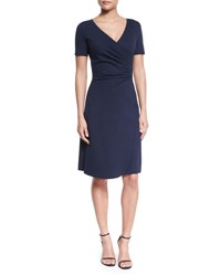 Armani Collezioni Short Sleeve Faux Wrap Dress Navy