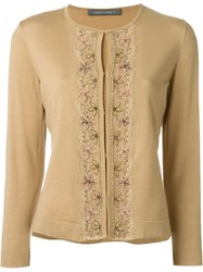 Alberta Ferretti Lace Detail Cardigan Nude And Neutrals