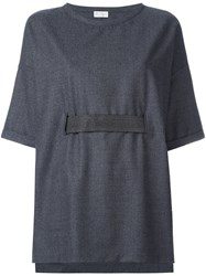 Brunello Cucinelli Belted Wide Fit T Shirt Grey