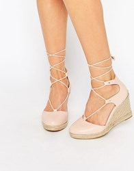 Carvela Kute Pale Pink Leather Wedge Shoes Pale Pink