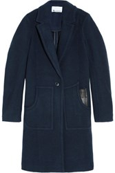Alexander Wang T By Leather Trimmed Boiled Wool Coat Navy