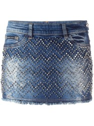 Philipp Plein 'Actinidia' Denim Mini Skirt Blue