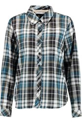 Chelsea Flower Cutout Plaid Cotton Flannel Shirt Blue