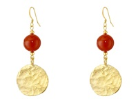 Kenneth Jay Lane Bead And Coin Drop Wire Earrings Gold Multi Natural Earring