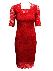 Feverfish Lace Scallop Dress Red