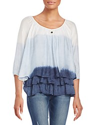 Saks Fifth Avenue Dip Dyed Tiered Top Marine Blue