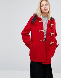 Gloverall Mid Monty Coat In Red Red
