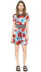 Suno Ribbed Cinch Dress Watercolor Floral