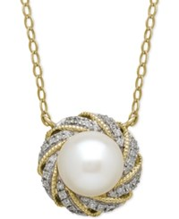 Macy's Cultured Freshwater Pearl 7Mm And Diamond Accent Pendant Necklace In 14K Gold
