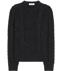 Valentino Crystal Embellished Cable Knit Wool And Cashmere Sweater Black