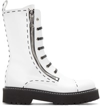 Dolce And Gabbana White Leather Combat Boots