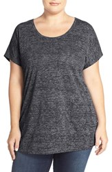 Plus Size Women's Sejour Sheer Knit Round Neck Tee Black