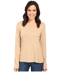 Pendleton L S Jewel Neck Cotton Rib Tee Camel Heather 1 Women's Long Sleeve Pullover Orange