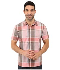Perry Ellis Large Chambray Plaid Shirt Faded Rose Men's Short Sleeve Button Up Pink