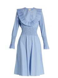 Trademark Pleated Bib Smocked Cotton Poplin Dress Blue