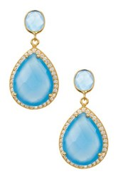 18K Yellow Gold Plated Sterling Silver 2 Drops Blue Chalcedony Gemstone And Cz Earrings