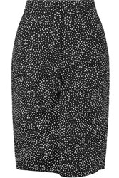 Nina Ricci Printed Linen Blend Pencil Skirt Black