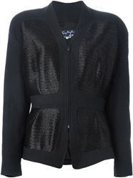 Thierry Mugler Vintage Straw Panel Jacket Blue