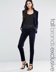 Fashion Union Tall Velvet Suit Pant Co Ord Navy