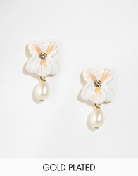 Les Nereides Floral Stud Earrings With Bead Drop White