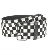 Haider Ackermann Check Leather Belt Black