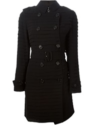 Burberry London Pleated Trench Coat Black