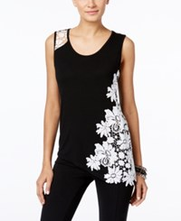 Inc International Concepts Petite Lace Detail Asymmetrical Tank Only At Macy's Deep Black