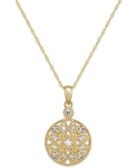 Macy's White Sapphire 1 4 Ct. T.W. Filigree Pendant Necklace In 14K Gold Yellow Gold