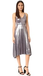 Halston Strappy V Neck Midi Dress Gunmetal
