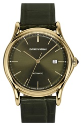 Emporio Armani Swiss Made Automatic Strap Watch 42Mm Olive Gold