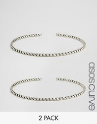 Asos Curve Pack Of Two Twist Arm Cuffs Silver