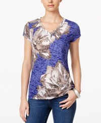 Inc International Concepts Floral Print T Shirt Only At Macy's Goddess Blue