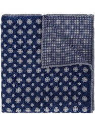 Brunello Cucinelli Checked Patterned Pocket Square Blue