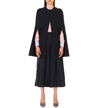 Roksanda Ilincic Leather Detail Wool Cape Navy