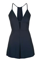 Oh My Love Side Strap Halter Neck Playsuit By Navy Blue