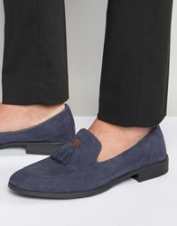 Dune Tassel Loafers Navy Suede Blue