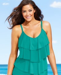 Kenneth Cole Reaction Plus Size Tiered Ruffle Tankini Top Women's Swimsuit Teal