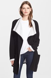 Autumn Cashmere Double Face Knit Coat Black White