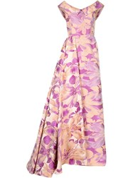 Christian Siriano Floral Side Wrap Overlap Evening Gown Pink And Purple