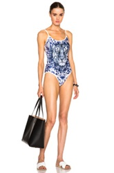 We Are Handsome String Scoop Swimsuit In Blue Floral Animal Print